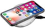 StilGut Wireless Charging Pad aus Aluminium und Kunstleder- Ladestation Wireless Charger, Silber/weiß