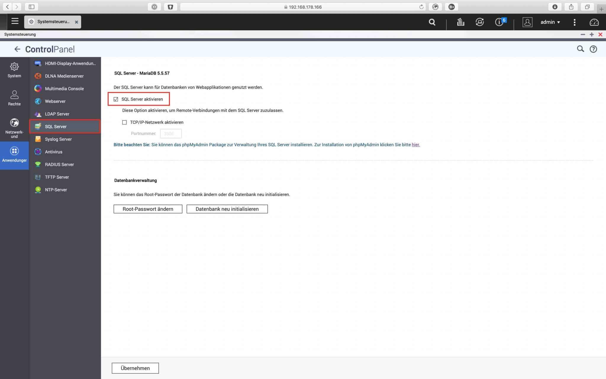 QNAP QTS 4.4 Tutorial - Einrichtung des Webservers 0004 - MySQL aktivieren