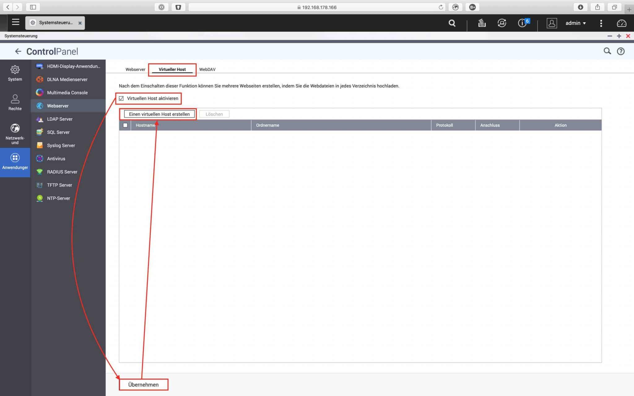 QNAP QTS 4.4 Tutorial - Einrichtung des Webservers 0005 - Virtuelles Hosting aktivieren